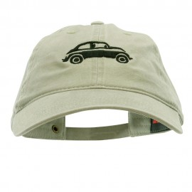 Classic VW Beetle Embroidered Washed Solid Pigment Dyed Cotton Twill Brass Buckle Cap