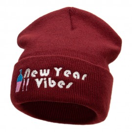 New Year Vibes Embroidered 12 Inch Long Knitted Beanie