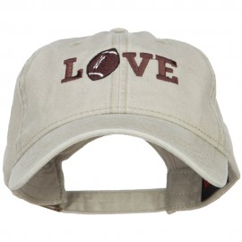 Love with Football Embroidered Washed Cotton Cap