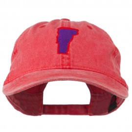 Vermont State Map Embroidered Washed Cotton Cap - Red