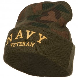 Navy Veteran Letters Embroidered Camo Beanie