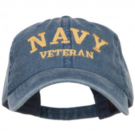 Navy Veteran Letters Embroidered Washed Cap - Navy