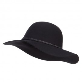 Women's 3 Inch Wide Brim Wool Felt Hat - Black