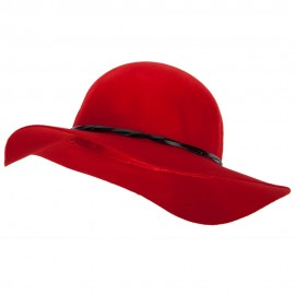 Women's 3 Inch Wide Brim Wool Felt Hat - Red
