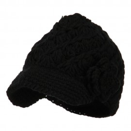 Women's Acrylic Crocheted Brim Cabbie Cap