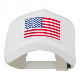 White American Flag Patched Cap - White