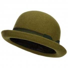 Women's Striped Band Wool Bowler - Olive