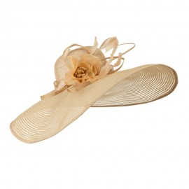 Wavy Brim Feather Flower Sinamay Hat