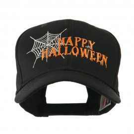 Happy Halloween with Spider Web Embroidered Cap