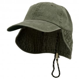 Washed Cotton Flap Hat-Olive