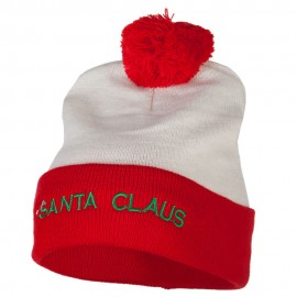 Santa Claus with Hat Embroidered Cuff Long Beanie