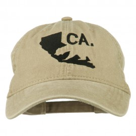 CA Map with Bear Embroidered Washed Cap - Khaki