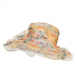 Flower Printed Ruffled Organza Hat