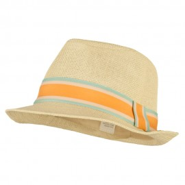 Men's Wide Band Paper Braid Fedora - Ivory