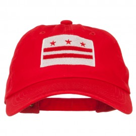 Washington D.C. Flag Embroidered Unstructured Washed Cap