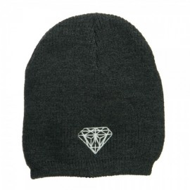 White Diamond Embroidered Rib Beanie