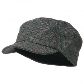Wool Fashion Fitted Engineer Cap-Black