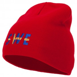 Sweden Country Three-Letter SWE Flag Embroidered 8 Inch Knitted Short Beanie