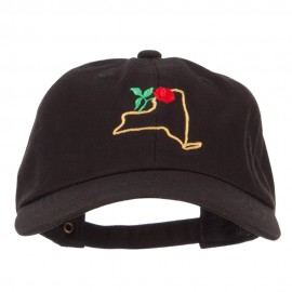 New York Rose with Map Embroidered Unstructured Washed Cap