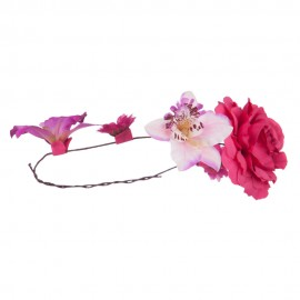 Women's Flower Wreath Hair Piece - Purple