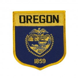 Western State Flag Embroidered Patch Shield - Oregon