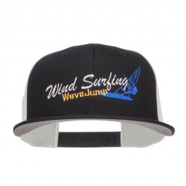 Wind Surfing Embroidered Snapback Mesh Cap