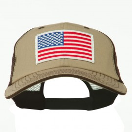 White American Flag Big Size Garment Washed Mesh Patched Cap - Brown Beige