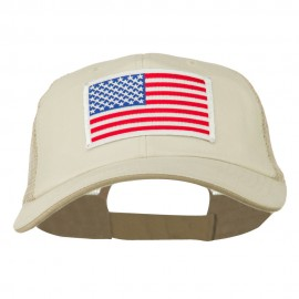 White American Flag Big Size Garment Washed Mesh Patched Cap