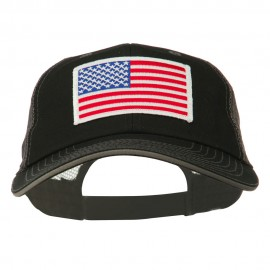 White American Flag Big Size Garment Washed Mesh Patched Cap - Black Grey