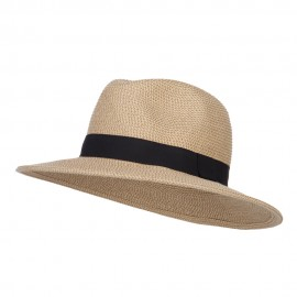 UPF 50+ Women's Large Brim Fedora - Tan Tweed
