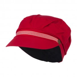 Women's Greek Sailor Shaped Cabbie Hat - Red