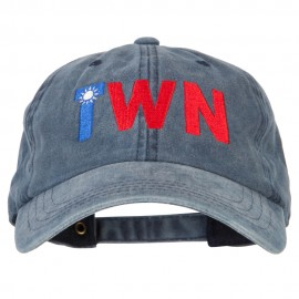 Taiwan TWN Flag Embroidered Washed Cotton Twill Cap