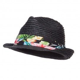 Wheat Braid Floral Band Straw Fedora