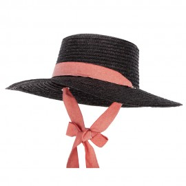 Women's Wheat Straw Braid Denim Ribbon Tie Large Brim Sun Hat