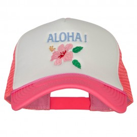 Hawaii Flower Aloha Embroidered Neon Polyester Big Size Mesh Cap