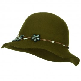 Women's Wool Felt Twisted Band with Beaded Flower and Bead Accented Cloche Bucket Hat