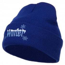 Winter with Snowflake Embroidered Long Beanie