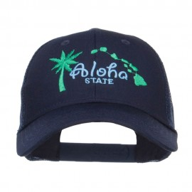 Hawaii Aloha State Embroidered Trucker Cap
