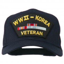 WWII Korean Veteran Patched Cotton Twill Cap - Navy
