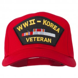 WWII Korean Veteran Patched Cotton Twill Cap - Red