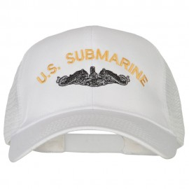 US Submarine Logo Embroidered Solid Cotton Mesh Pro Cap