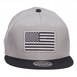 Grey American Flag Patched Two Tone Snapback