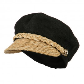 Women's Linen Straw Greek Sailor Style Cabbie Cap - Black