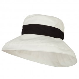Woman's Large Brim Canvas Cotton Bucket Hat