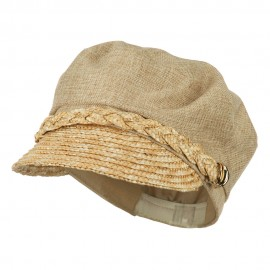 Women's Linen Straw Greek Sailor Style Cabbie Cap