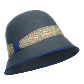 Women's Paisley Band Wool Cloche