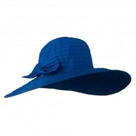 Woman's Large Bow Wired Brim Hat - Blue