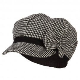 Women's Bow Trim Houndstooth Newsboy Hat