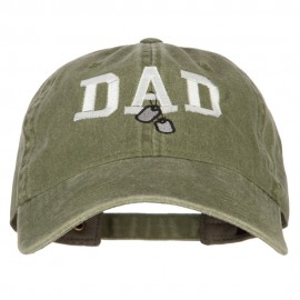Dad with Military Dog Tags Embroidered Washed Cotton Twill Cap