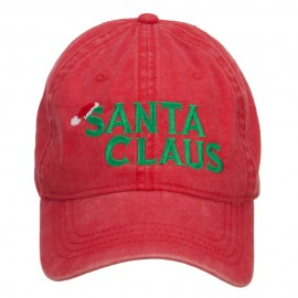 Christmas Hat Santa Claus Embroidered Washed Cap